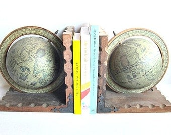 Vintage Globe Bookends Old World