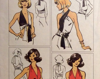 Vintage Sewing Pattern 1970's Jiffy Halter Top Misses One Size Wrap and Tie Strtch Knit 1972