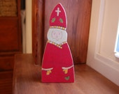 CUSTOM ORDER for MALLORY: St. Nicholas (wooden Christmas saint figure)