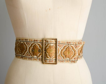 Vintage 1960s Silk Belt - Wide 60s Belt - Lutece Silk Belt
