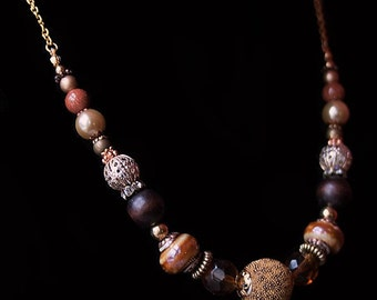 Handmade Brown Necklace Brown Gold Beaded Necklace Brown Chunky Necklace Brown Statement Mixed Metal Necklace Short Beaded Necklace