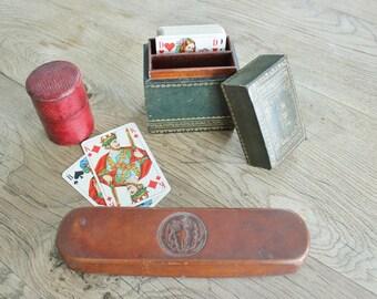 3 Vintage Leather trinket gift Boxes