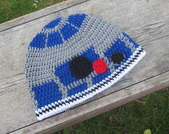 R2D2 Crochet Beanie Kids Sizes