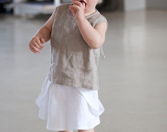 Girl skirt with suspenders Linen midi skirt with straps a line skirt Girls summer clothes
