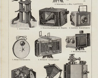 1893 Antique camera print, old PHOTOGRAPHY cameras