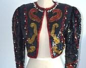 Vintage Beautiful 80s BULLFIGHTER Bolero Silk Black SEQUINED Encrusted Beaded Art Deco Pearls El Toureiro Jacket Size S