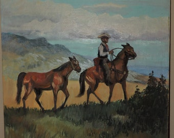 Vintage Western TEXAS Cowboy & HORSES Landscape Oil Painting by Verda Wright c1981