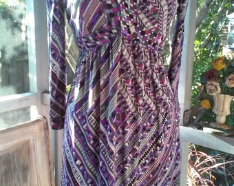 60s PUCCI SILK DRESS--Jersey--Knee Length--Low Cut--Signed Emilio--Purples and Greys--Size 8