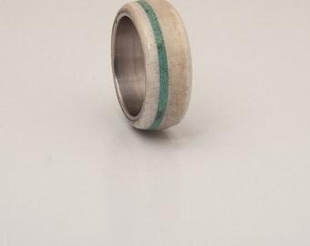 Antler Ring turquoise ring Deer Antler Ring Man Ring mens wedding band titanium turquoise band