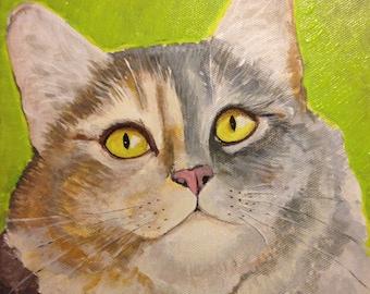 Original Acrylic Painting - Calico Cat 8x8