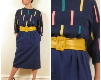 Vintage 1980s Sweater Dress with Geometric Design / 80s Blu Day Dress by Ciao / Medium