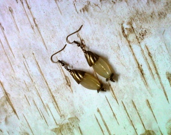 Golden Ivory Agate Earrings (1969)