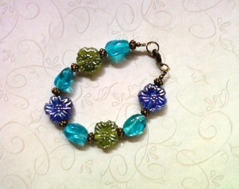 Blue, Green and Aqua FLower Bracelet (1730)