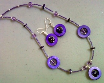 Purple Shell and Bead Necklace and Earrings (0094)