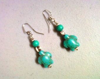 Turquoise Turtle Earrings (0180)