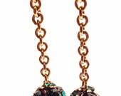 Reinvented Green Rhinestone Bead Goldfilled Chain Dangle Earrings OOAK