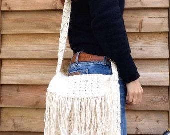 Vtg  cotton crochet fringed bag/ handbag 70s