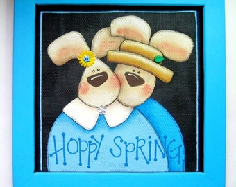 Hoppy Spring Sign, Bunny Couple, Tole Painted and Framed in Light Blue,Pair of Bunnies, Spring Sign, Whimsical Bunnies, CLEARANCE