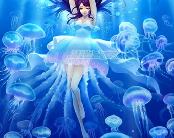 fantasy art print jellyfish girl
