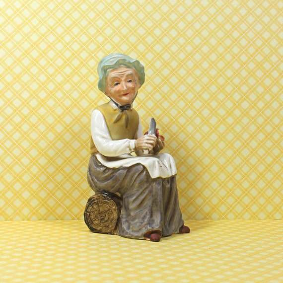 vintage ceramic home decor figurines old woman by digimiging