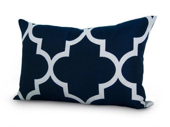 SALE - Moroccan Quatrefoil Lattice Pillow Cover - 12x18 inch - Navy Blue - Trellis Pillow - Decorative Pillow - Lumbar Pillow