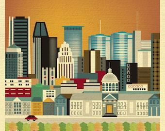 Montreal Skyline Art Print, Montreal Wall Art, Montreal Canada, Montreal Artwork, Montreal Poster, Montreal City Print - style E8-O-MO