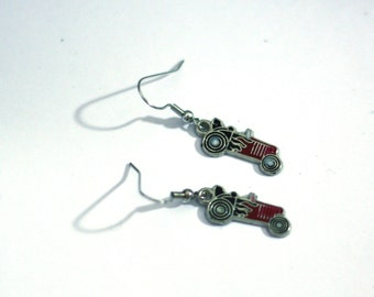 Red Hot Rod Dragster Drag Strip Race Car Enamel Charm Earrings - Race Fan Earrings