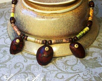 Paper bead necklace - wood pendants, music notes - Eco friendly, lightweight, hand rolled beads - FREE SHIPPING
