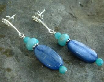 Kyanite and Amazonite - sterling silver earrings