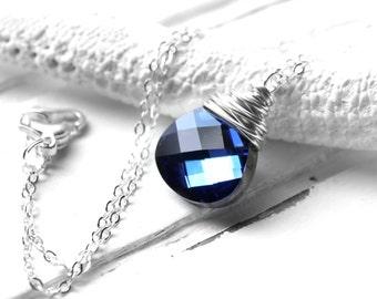 Blue Crystal Necklace, Swarovski Crystal Ocean Blue Wire Wrapped Teardrop, Sterling Silver, Denim Blue, Navy Blue, Bridesmaid Necklace