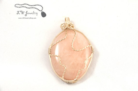 Sterling Silver,  Wire Wrapped,  Rose Quartz,  Natural Stone, Wire Wrap Pendant, Pendant,  Pink Quartz, Wire Wrapping, Wire Wrap