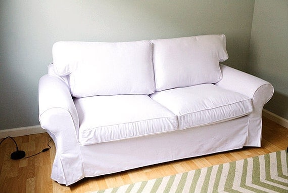 Custom ikea ektorp sofa bed cover 2 seater in gaia white for Ektorp fodera