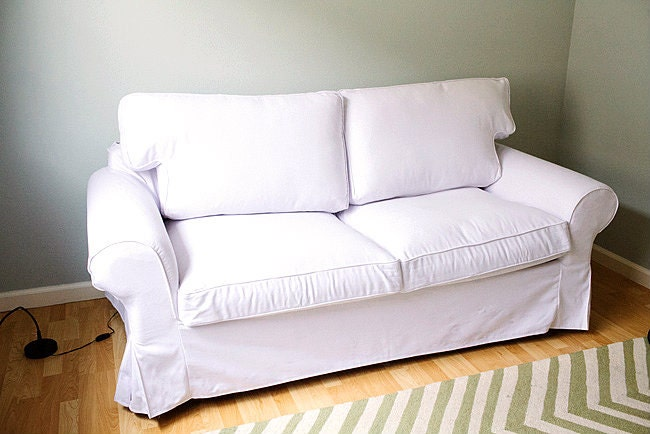 Custom ikea ektorp sofa bed cover 2 seater in gaia white for Ikea sofa slipcovers discontinued