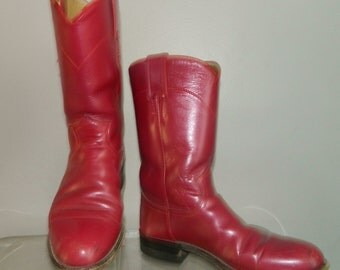 vintage pink roper boots size 6.5 JUSTIN metallic leather