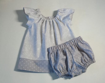 Baby Girls Grey Flutter Sleeve Dress and Bloomers - Soft Grey and White with Polka-Dots - Size Newborn, 3m, 6m, 9m, 12m or 18m