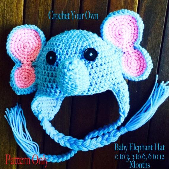 Free Crochet Pattern Infant Elephant Hat : CROCHET PATTERN Baby Elephant Hat Crochet by AvaGirlDesigns