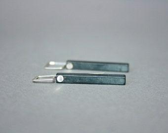 Oxidized Sterling Bar Earrings, Oxidized Sterling Silver Stick Earrings