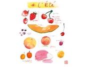 Kitchen art print, Summer fruit watercolor painting, Food poster, Seasonal fruits, Botanical 8X10 home decor, Red, Orange Kitchen Wall art