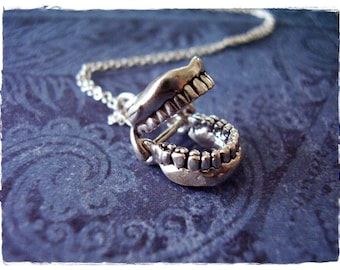 Silver Movable Dentures Necklace - Sterling Silver Dentures Charm on a Delicate Sterling Silver Cable Chain or Charm Only