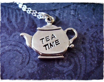 Silver Tea Time Teapot Necklace - Sterling Silver Tea Time Teapot Charm on a Delicate Sterling Silver Cable Chain or Charm Only