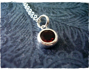 Tiny Garnet Gemstone Necklace - Sterling Silver and Garnet Gemstone Charm on a Delicate Sterling Silver Cable Chain or Charm Only