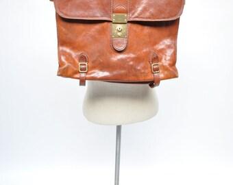 vintage leather bag satchel attache tote briefcase tote the bridge distressed