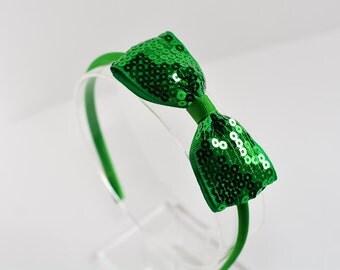 Emerald Green Sequin Bow Headband. Green Bow Headband. Emerald Green. Girls Hair Accessories. Women Hair Accessories. Green Sparkle Headband