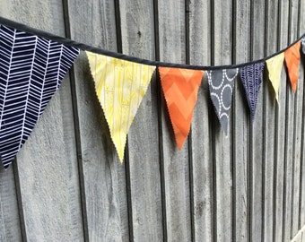 Bunting Flags Party Decoration Modern Pirates theme Yellow plank, navy fishbone, Orange chevron, Grey rings