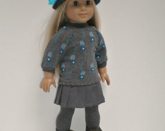 Floral Gray Sweater, Pleated Skirt, 18 inch doll clothes