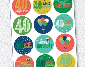 40th Birthday PRINTABLES Party Circles (Instant Download) by Love The Day