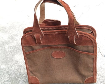 60s 70s Vintage Tweed and Leather Attache Case Brown Laptop Case Suede Canvas Twin Handle Briefcase