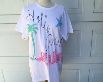 80s Vintage Oversize Hollywood Puff Painted T Shirt | Pastel Palm Trees Aerobics Beadazzled Top
