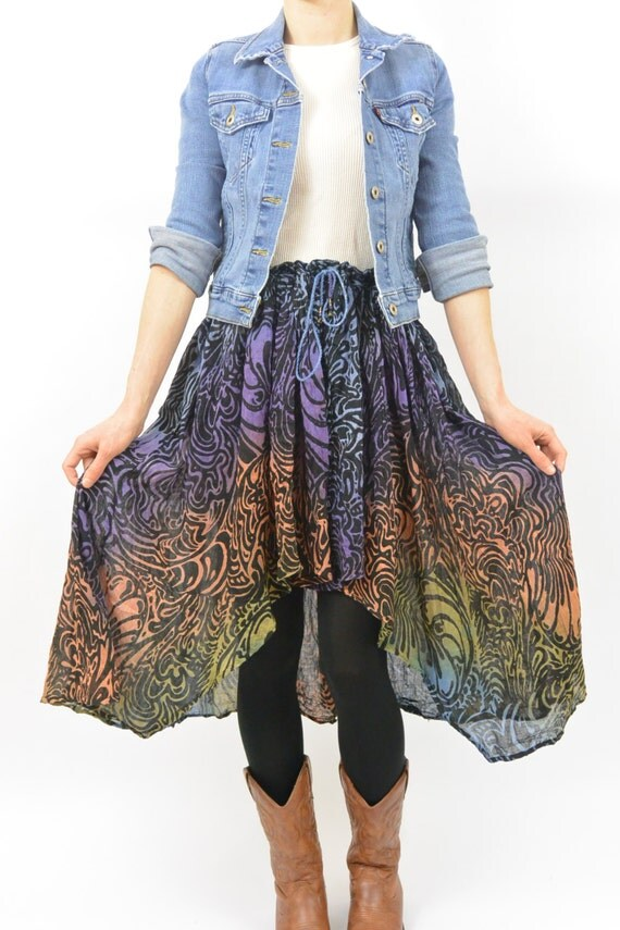 vintage high low skirt size medium large butterfly wing