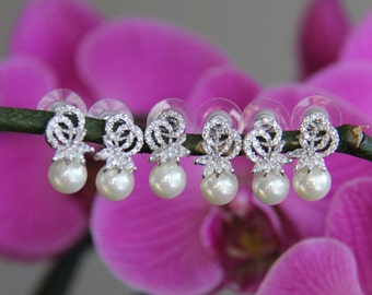 Pairs of 2-12 bridesmaid earrings, cz earrings, wedding jewelry, bridal jewelry, wedding earrings, bridal earrings, bridesmaid earrings